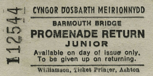Barmouth Bridge Ticket